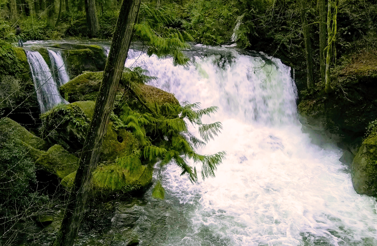 waterfall, mossy rocks